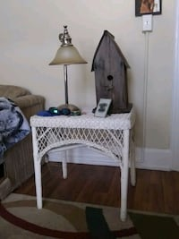 Wicker end table, lamp,and antique birdhouse..all  Mobile, 36604
