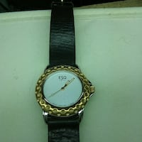 round gold analog watch with black leather strap Cambridge, N1R 4M1