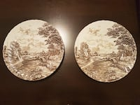 2 Vintage Brown Ridgway Country Days Dinner Plates