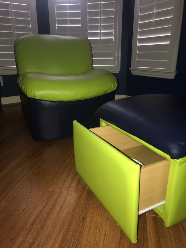 Swell Kids Game Room Chair And Ottoman With Storage Lime Green And Blue Uwap Interior Chair Design Uwaporg