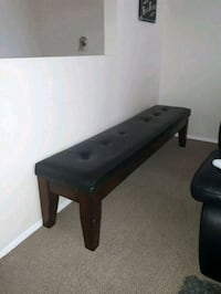 black wooden base white leather padded bench  Calgary, T2E