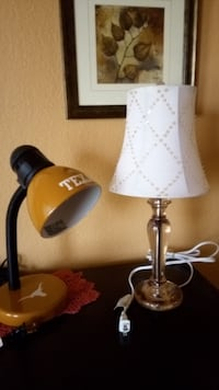 "$15 EACH. Table desk nightstand lamps. Work great. Pink acrylic (17""H). Texas Longhorn (12""H)"