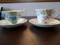 two white-and-blue floral ceramic mugs Mississauga, L5A 2S1