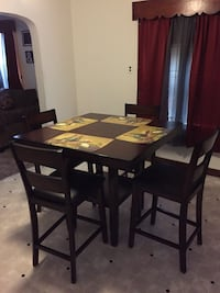 Rectangular brown wooden table with four chairs dining set Decatur, 62526
