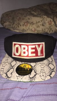black and white OBEY embroidered snapback cap