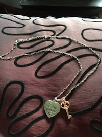 Sterling silver necklace with pendant and charm - Love Holds The Key Port Coquitlam
