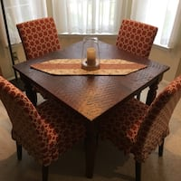 rectangular brown wooden dining table with chairs set Arlington, 22203
