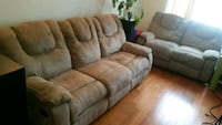 brown leather 3-seat recliner sofa 2 pieces Toronto, M1L 4R3