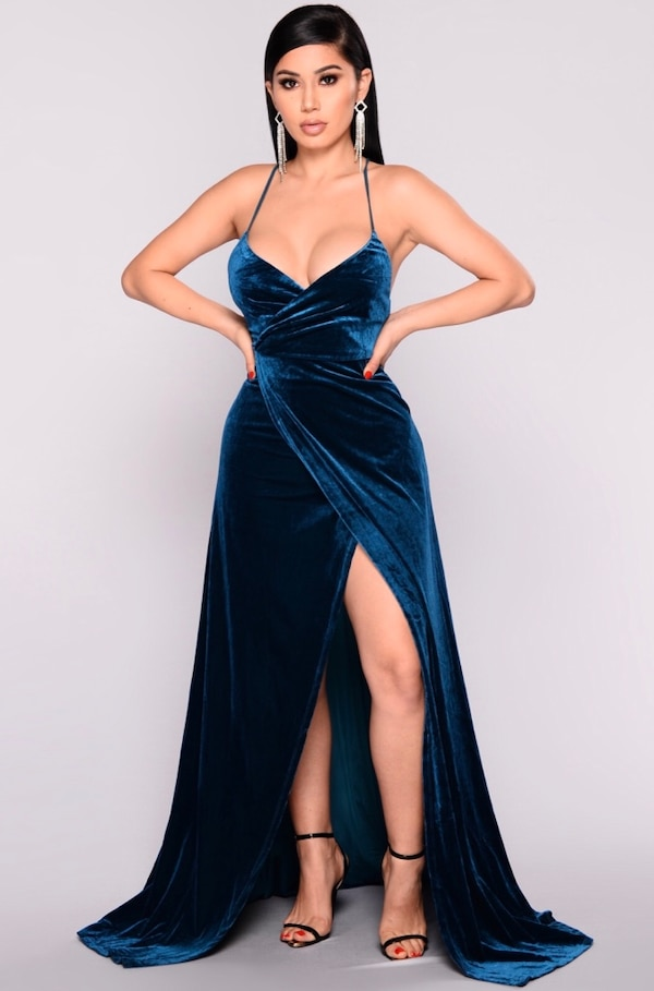 6432d89df91 Used Brand new with tags fashion nova blue velvet maxi dress size ...
