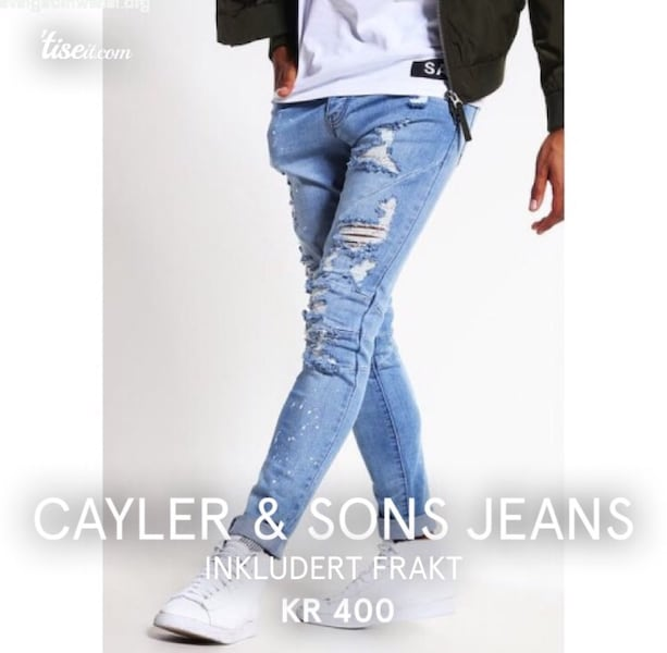 Cayler & Sons Jeans Tapered Fit - distressed light blue/white