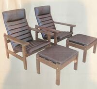 Two brown wooden framed and leather armchairs Los Angeles, 91436