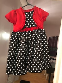girl's black, white, and red polka-dot cap-sleeved dress Clarence-Rockland, K0A