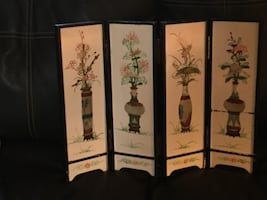 1960's oriental table screen with raised ivory decor