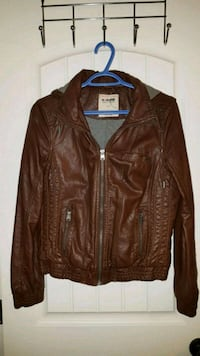 brown leather zip-up jacket 3690 km