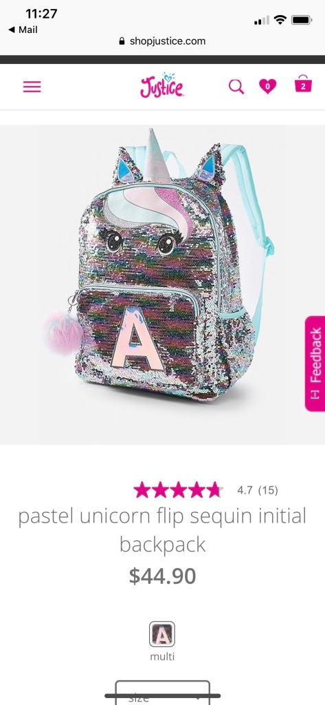 Justice Pastel Unicorn Flip Sequin Initial Backpack Letter H
