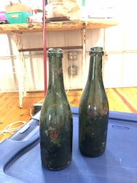 Vintage-two glass bottles with turn mold bases