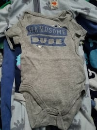 baby's gray and blue onesie