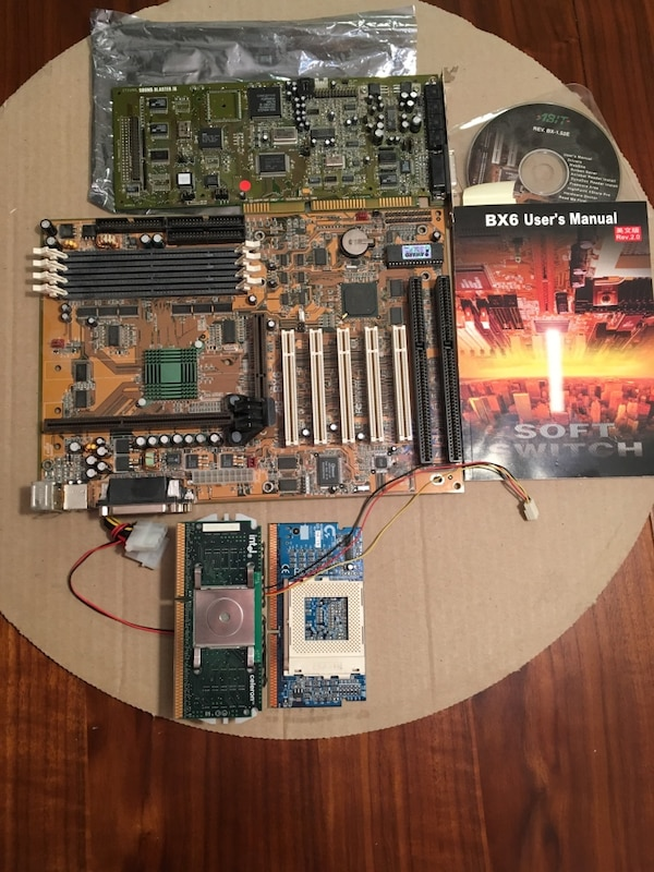 Abit BX6 motherboard with celeron processor+ PGA370 adapter, and sound blaster sound card