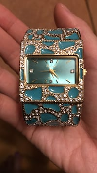 Turquoise and Gold cuff watch with diamonds Toronto, M9P 2N9