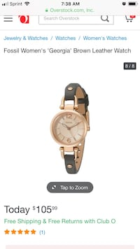 Round gold analog watch with black leather strap Tucson, 85712