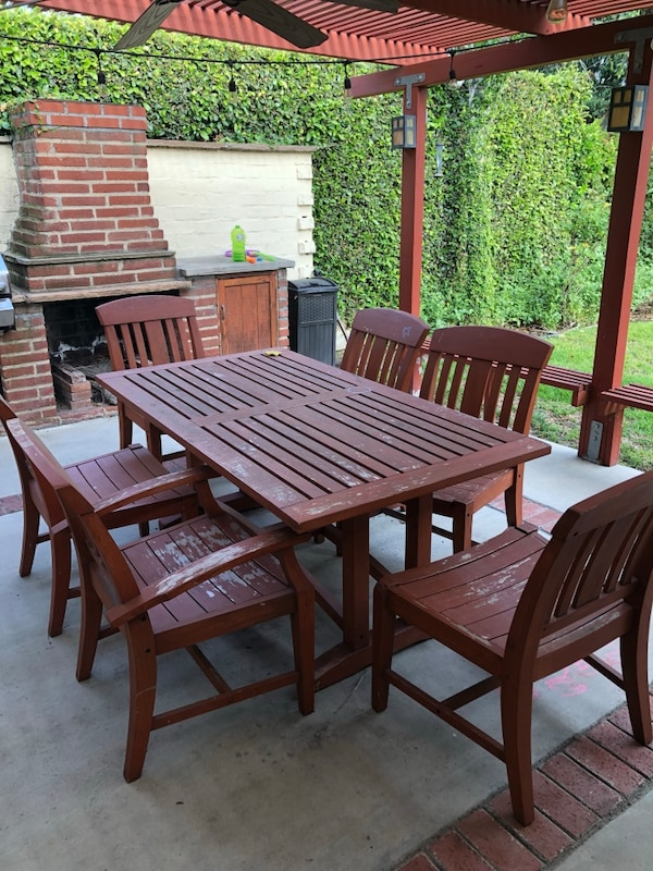 Restoration Hardware outdoor teak dining table and chairs