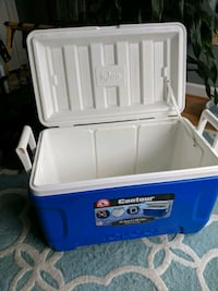 white and blue Coleman cooler box Washington, 20009