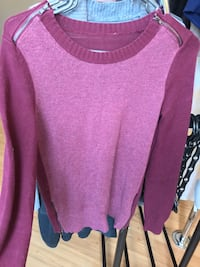 Burgundy Sweater with Zippers