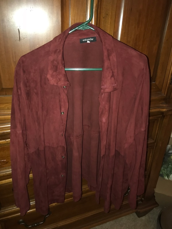 Women's Maroon Suede Button Up