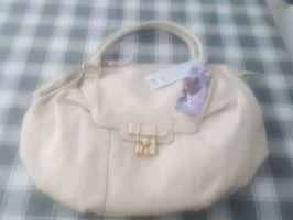 Cream Bag With Gold buckle