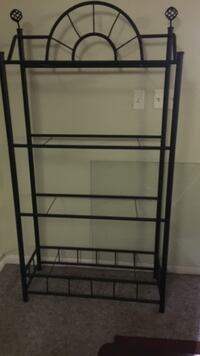 """black metal 4 glass shelves 36' across and 72' and a 1/2""""tall Laurel, 20724"""