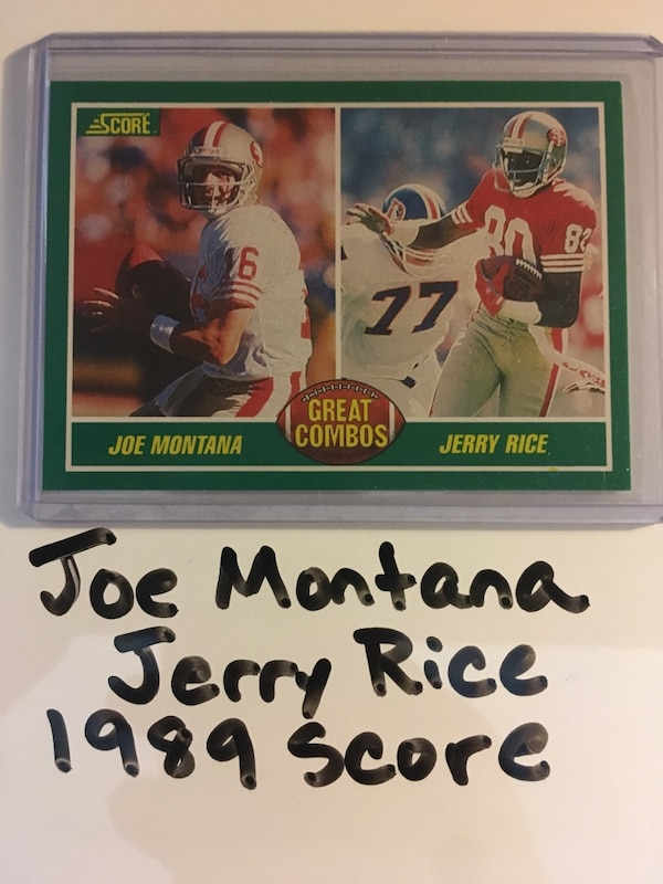 brand new 95509 c9e2e Joe Montana Notre Dame Fighting Irish Jerry Rice Mississippi Valley State  Delta Devils and 49ers Hall of Famers 1989 Score Great Combos Subset Card