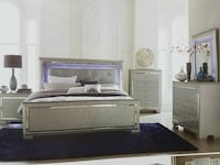 4 piece queen bedroom set with the LED light