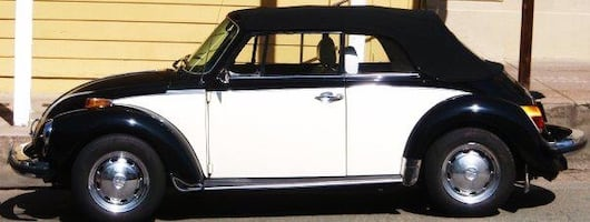 Black and white classic volkswagen beetle convertible
