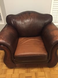 brown leather sofa chair with ottoman Vaughan