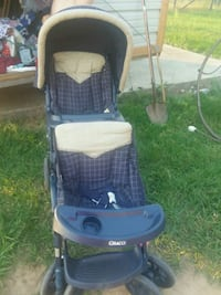 baby's blue and white stroller