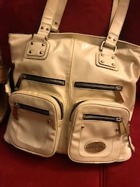 Brown and white leather shoulder bags