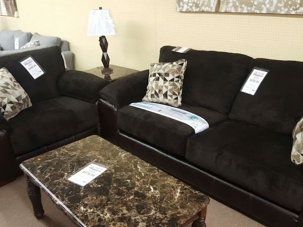 Black And Brown Suede Couch Set