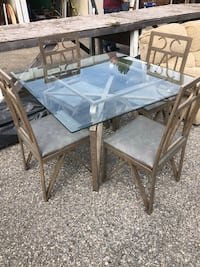 rectangular glass top table with four chairs dining set Adairsville, 30103