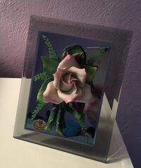 Capidimonte Porcelain Rose set on mirror w/glass stand up frame