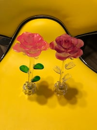 two red-and-clear glass rose decors Stockton, 95206