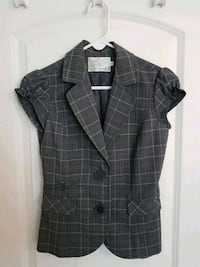 black and gray plaid button-up coat Mississauga, L4X 1R3