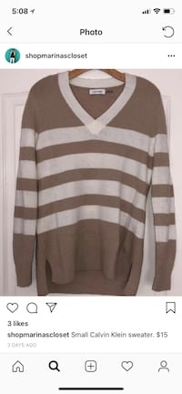Tan and white striped v-neck sweater Lincoln, 95648