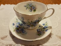 Beautiful 1950 Royal Albert Tea Cup & Saucer With Blue Flowers For Sale! 724 km