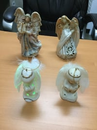 four white ceramic angel figurines VANCOUVER