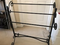 BLANKET RACK Metal Scroll Iron Towel Holder Quilt Black Vintage Style Home Stand Ashburn, 20147