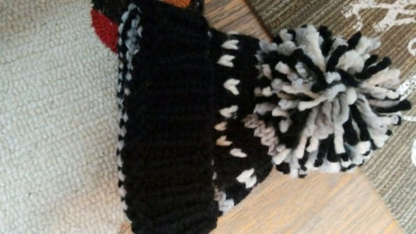 black and white knitted textile