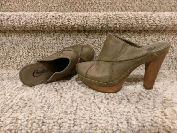 pair of brown suede heeled shoes