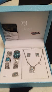 silver Obos jewelry set on box Vaughan, L6A