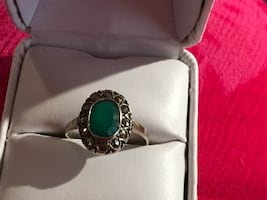 May birthday 925 emerald and marcasite ring