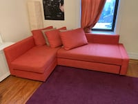 Orange sectional sofa (converts into Queen sized bed) with throw pillows New York, 11372